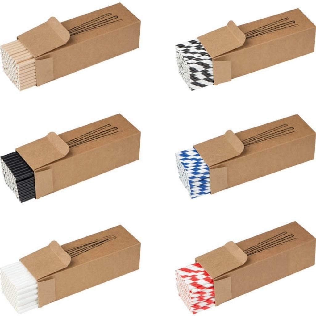 Trinkhalme aus Papier mit Werbung