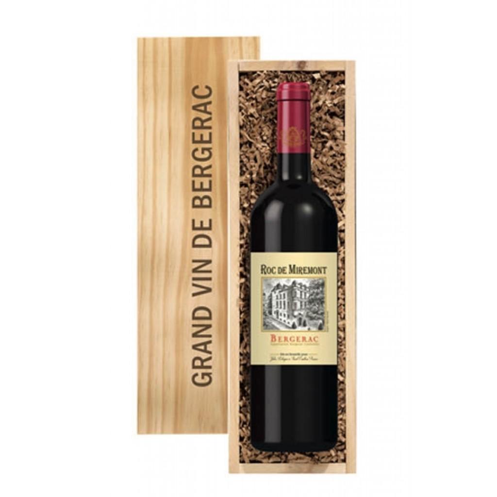 Rotwein aus Frankreich mit Werbung