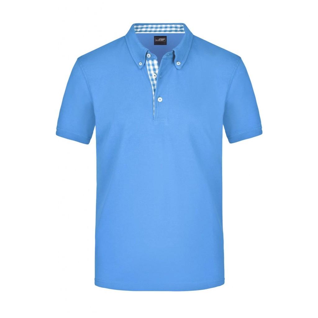 Polo Shirt Men mit Karo-Einsatz