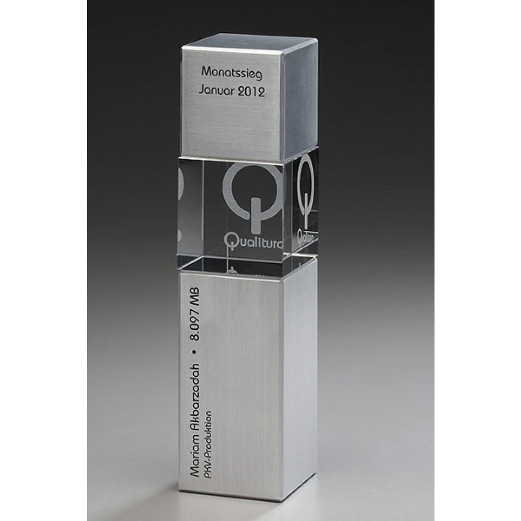 Kristallglas  Metal Award - Cubix